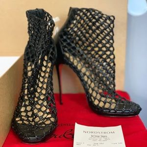 Christian Louboutin Black Caged Booties